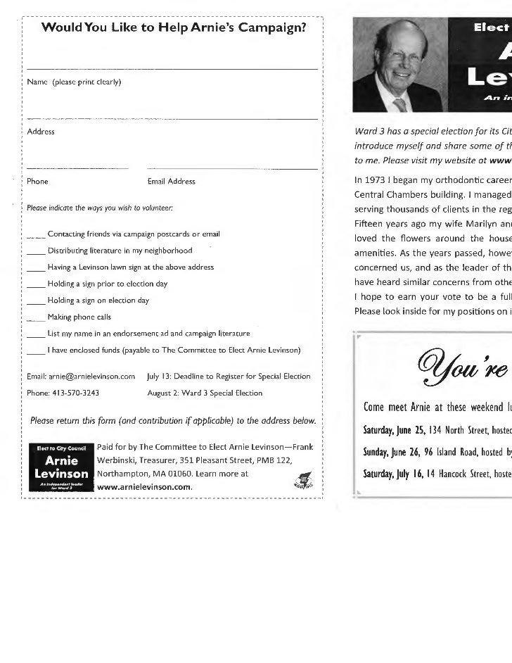 Arnie Levinson Campaign Brochure May 2011