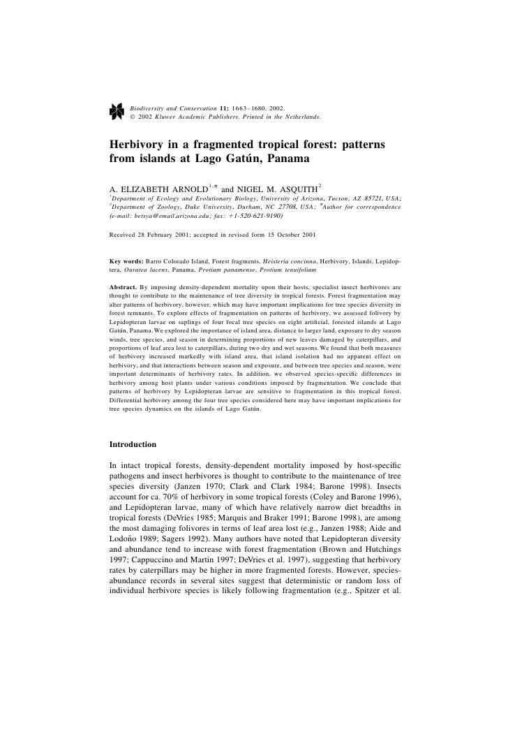 Herbivory in a fragmented tropical forest: patterns from islands at Lago Gatu´ n, Panama