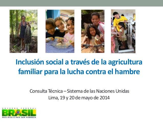 Inclusión social a través de la agricultura familiar para la lucha contra el hambre ConsultaTécnica–SistemadelasNacionesUn...