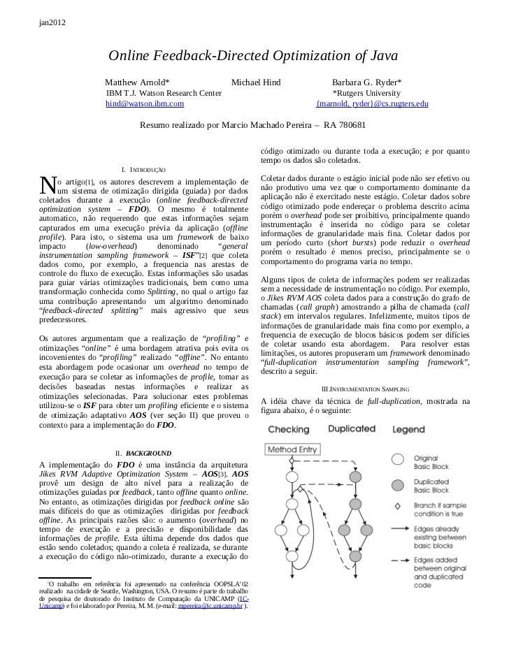 "[Arnold oopsla 02] resumo do artigo ""Online Feedback-Directed Optimization of Java"""