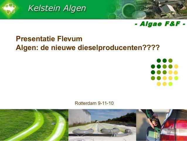 - Algae F&F - Presentatie Flevum Algen: de nieuwe dieselproducenten???? Rotterdam 9-11-10