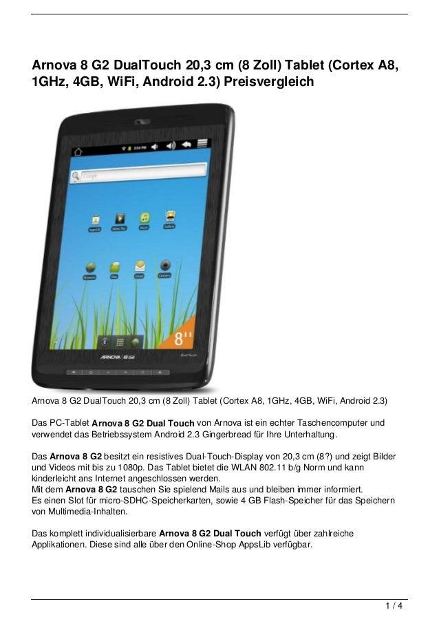 Arnova 8 G2 DualTouch 20,3 cm (8 Zoll) Tablet (Cortex A8,1GHz, 4GB, WiFi, Android 2.3) PreisvergleichArnova 8 G2 DualTouch...