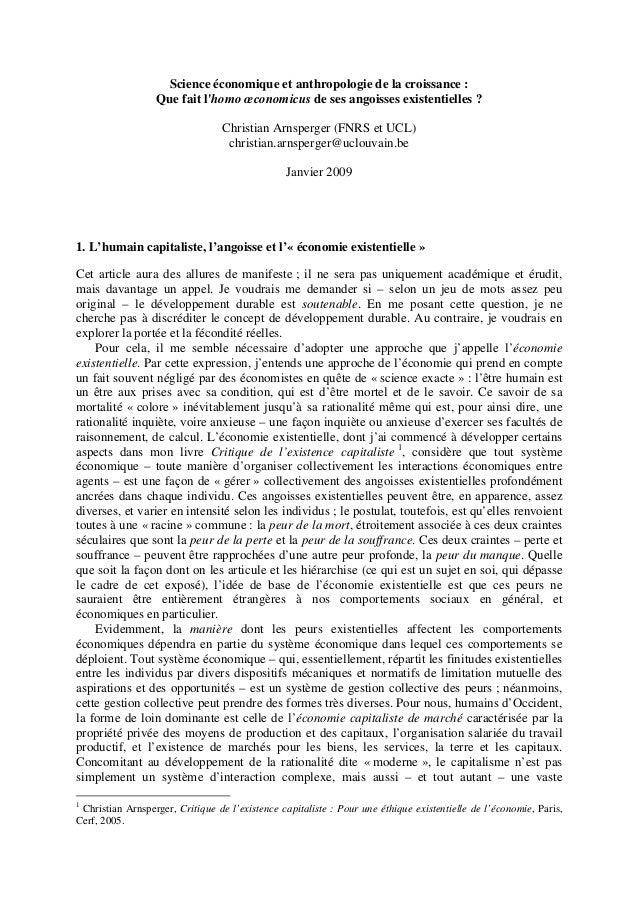 Arnsperger science economique_anthropologie_croissance