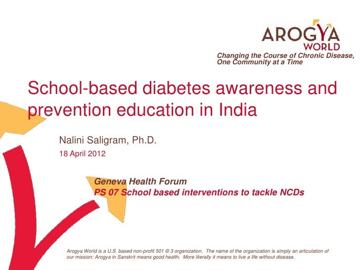 School-based diabetes awareness and prevention education in India