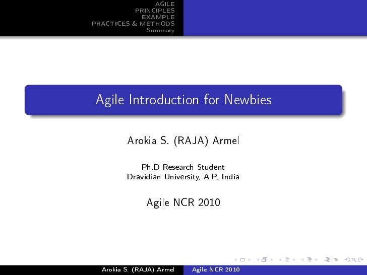 AGILE            PRINCIPLES             EXAMPLE PRACTICES & METHODS               Summary     Agile Introduction for Newbi...