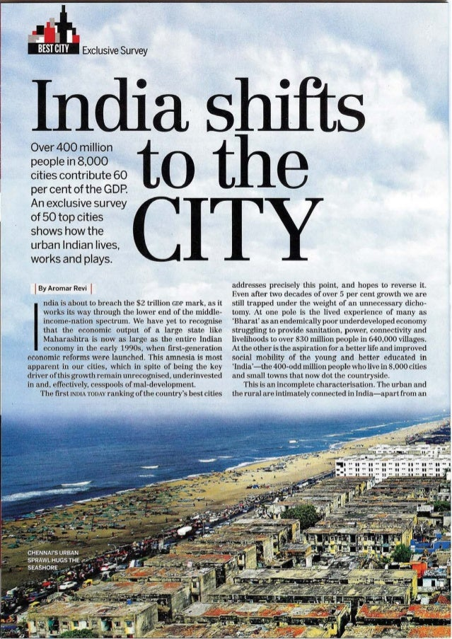 India Today lead article: India shifts to the city