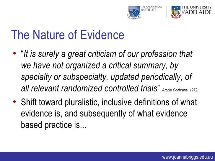 What does nature, amount, quality of evidence means in a critical review essay?