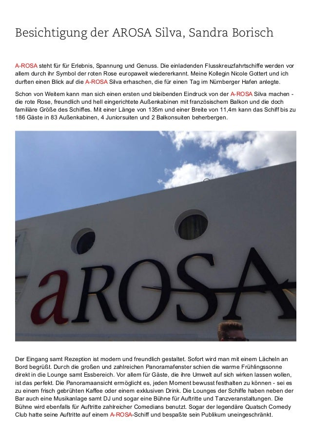 Besichtigung der AROSA Silva, Sandra Borisch AROSAstehtfürfürErlebnis,SpannungundGenuss.DieeinladendenFlusskreu...