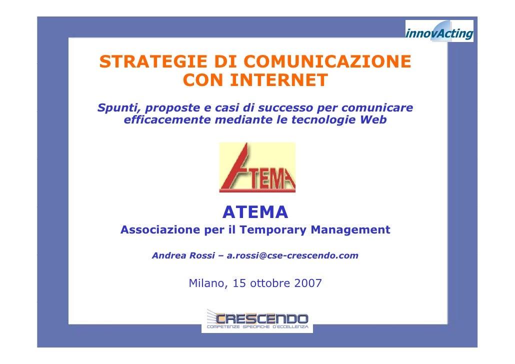 A.Rossi   Strategie Comunicazione Con Internet   15.10.2007