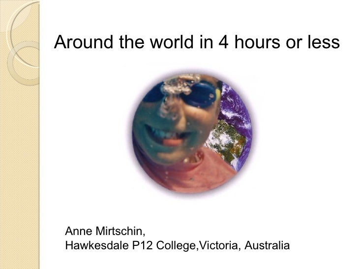 Around the world in 4 hours or less Anne Mirtschin,  Hawkesdale P12 College,Victoria, Australia