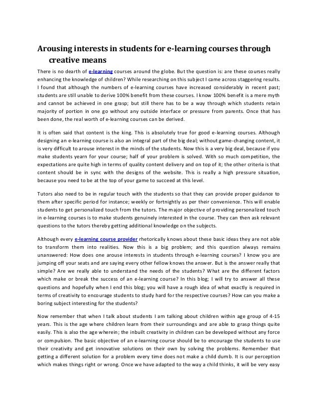 Arousing interests in students for e learning courses through creative means