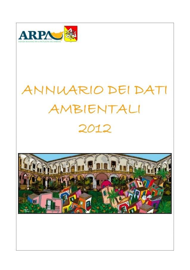 ANNUARIO DEI DATI AMBIENTALI 2012