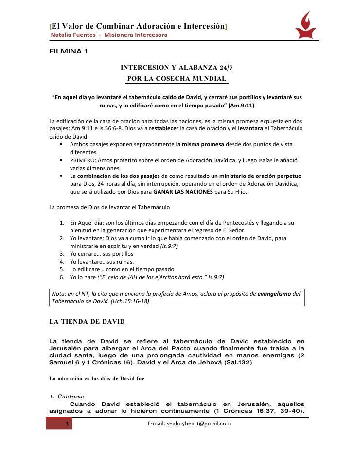 [El Valor de Combinar Adoración                   e Intercesión]  Natalia Fuentes - Misionera Intercesora  FILMINA 1      ...