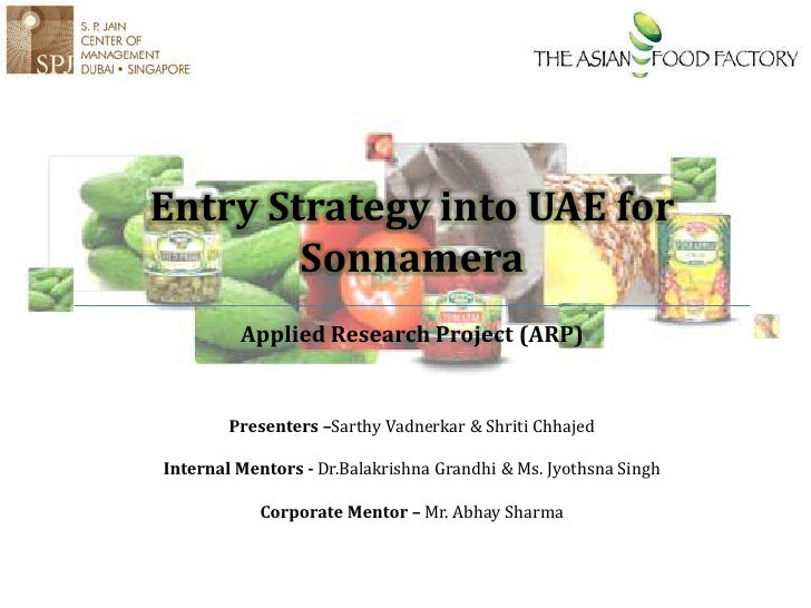 Entry Strategy for a canned food brand in UAE