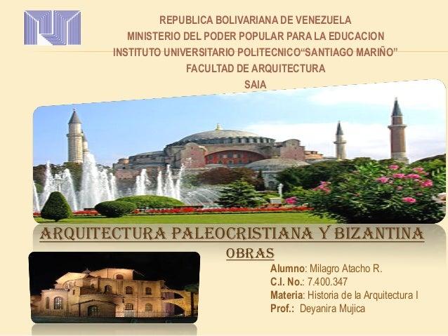 "REPUBLICA BOLIVARIANA DE VENEZUELA MINISTERIO DEL PODER POPULAR PARA LA EDUCACION INSTITUTO UNIVERSITARIO POLITECNICO""SANT..."