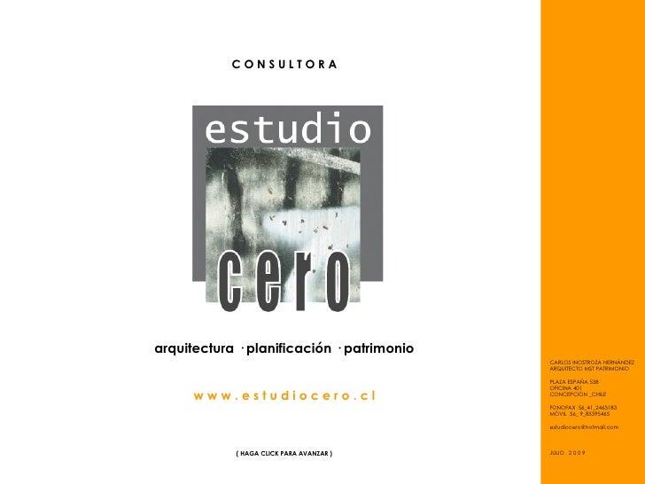 CONSULTORA     arquitectura · planificación · patrimonio                                             CARLOS INOSTROZA HERN...