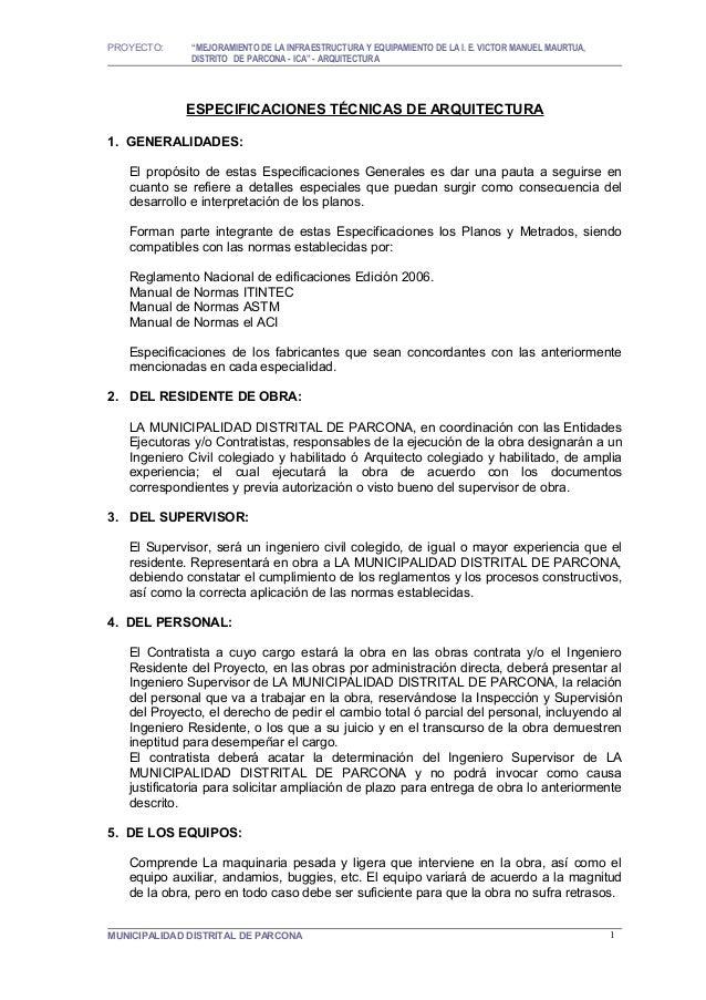 """PROYECTO:     """"MEJORAMIENTO DE LA INFRAESTRUCTURA Y EQUIPAMIENTO DE LA I. E. VICTOR MANUEL MAURTUA,              DISTRITO ..."""