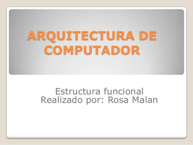 ARQUITECTURA DE  COMPUTADOR    Estructura funcional Realizado por: Rosa Malan