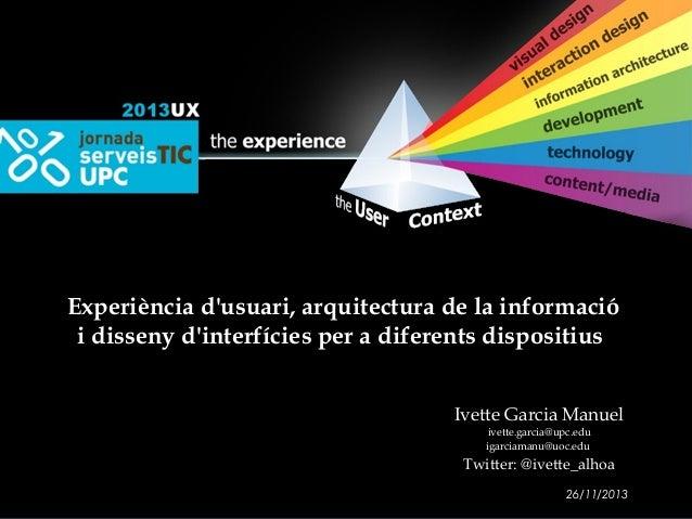 Experiència d'usuari, arquitectura de la informació i disseny d'interfícies per a diferents dispositius