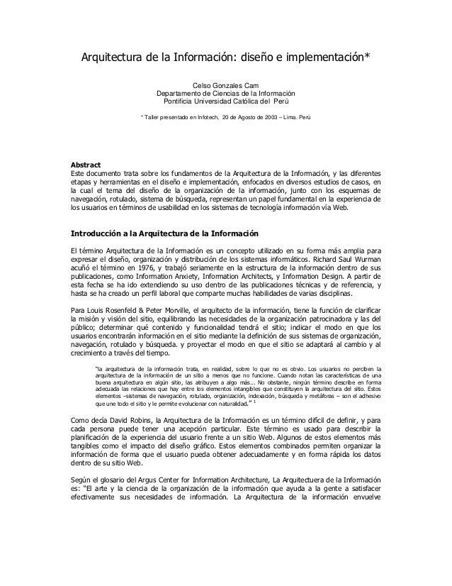 Arquitectura de la Información: diseño e implementación*                                          Celso Gonzales Cam      ...