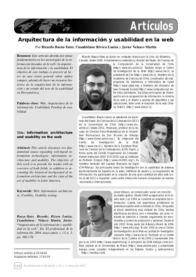 Artículos   Arquitectura de la información y usabilidad en la web                   Por Ricardo Baeza-Yates, Cuauhtémoc Ri...