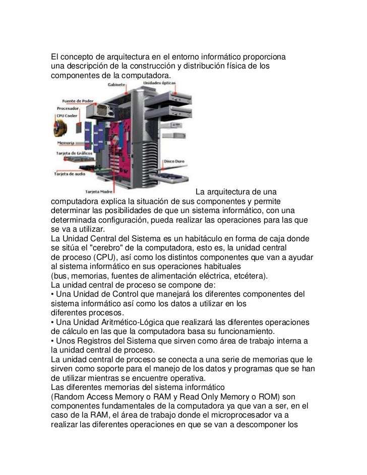 El concepto de arquitectura en el entorno informático proporcionauna descripción de la construcción y distribución física ...