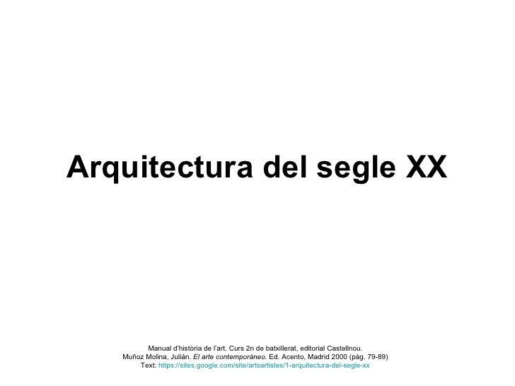 Arquitectura del segle xx i part