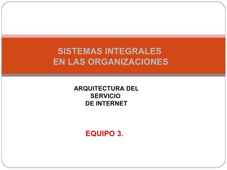 SISTEMAS INTEGRALES EN LAS ORGANIZACIONES     ARQUITECTURA DEL        SERVICIO      DE INTERNET         EQUIPO 3.