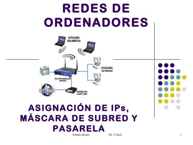 REDES DE   ORDENADORES ASIGNACIÓN DE IPs,MÁSCARA DE SUBRED Y     PASARELA        Yolanda Mejido   TIC 2º Bach   1