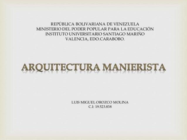 REPÚBLICA BOLIVARIANA DE VENEZUELA  MINISTERIO DEL PODER POPULAR PARA LA EDUCACIÓN  INSTITUTO UNIVERSITARIO SANTIAGO MARIÑ...