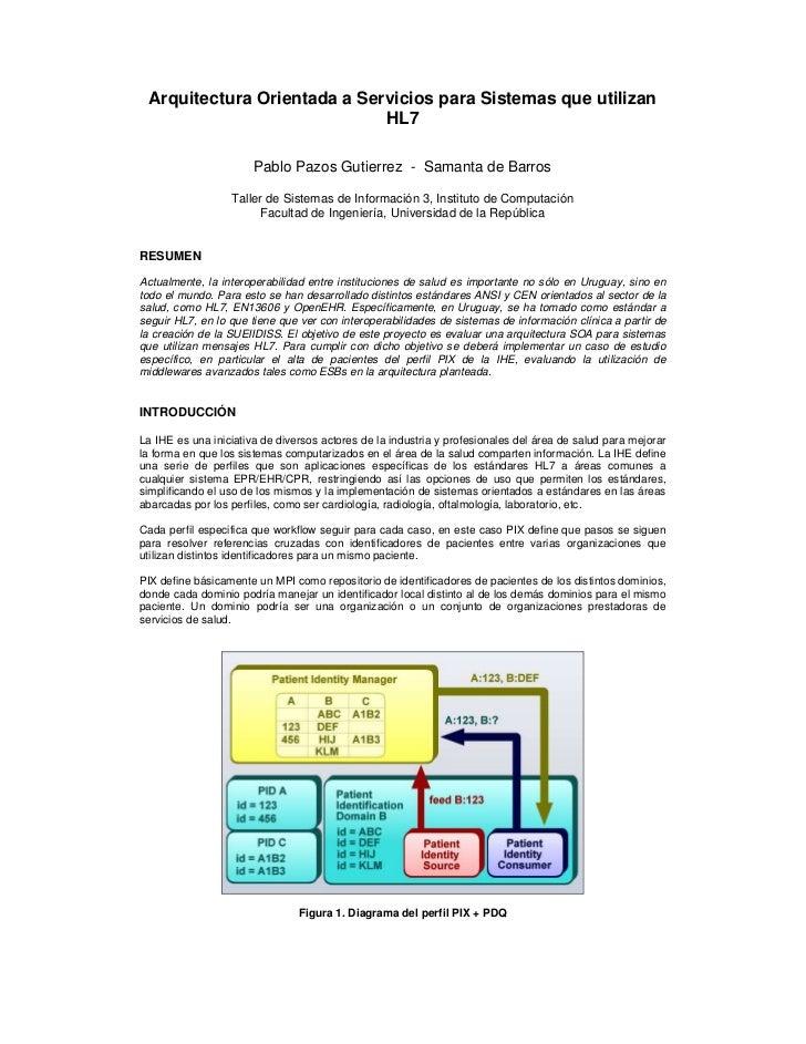 Arquitectura orientada a servicios para sistemas que utilizan hl7   tsi3