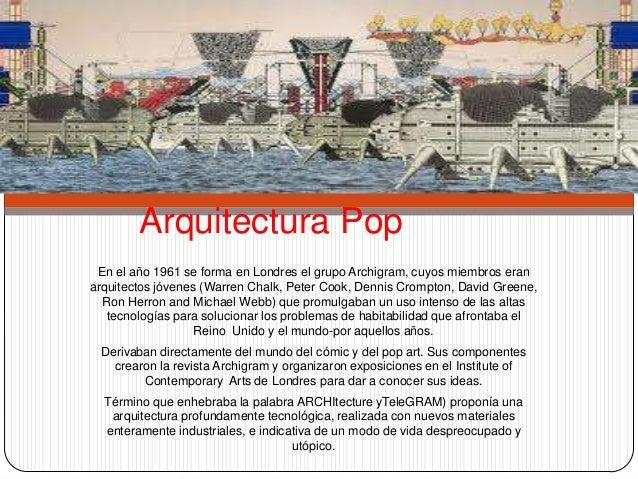 Arquitectura Pop En el año 1961 se forma en Londres el grupo Archigram, cuyos miembros eranarquitectos jóvenes (Warren Cha...