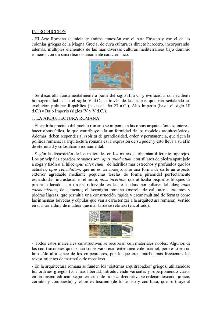 INTRODUCCIÓN- El Arte Romano se inicia en íntima conexión con el Arte Etrusco y con el de lascolonias griegas de la Magna ...