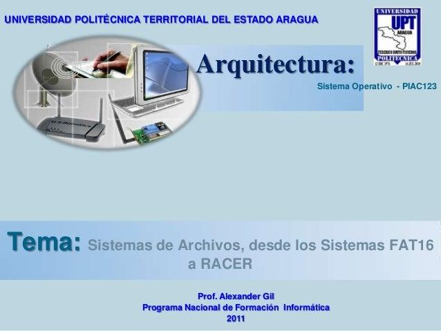 UNIVERSIDAD POLITÉCNICA TERRITORIAL DEL ESTADO ARAGUA  Arquitectura: Sistema Operativo - PIAC123  Tema: Sistemas de Archiv...