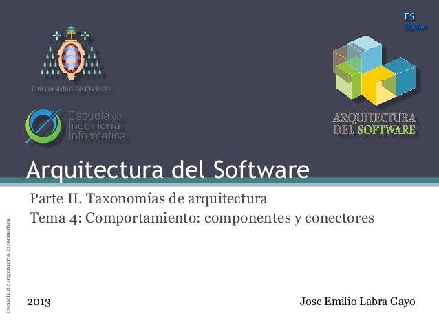 Arquitectura del SoftwareEscueladeIngenieríaInformáticaUniversidaddeOviedoArquitectura del SoftwareParte II. Taxonomías de...