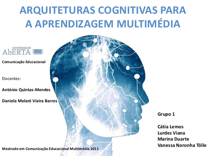 ARQUITETURAS COGNITIVAS PARA A APRENDIZAGEM MULTIMÉDIA<br />Comunicação Educacional <br />Docentes: <br />António Quintas-...