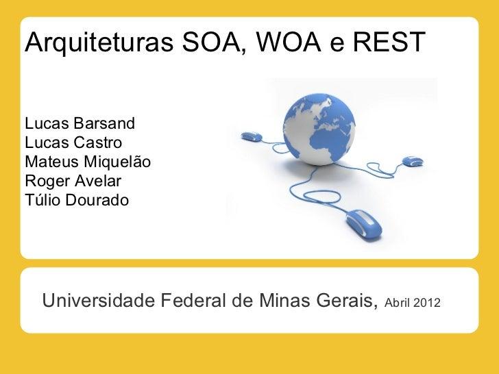 Arquiteturas SOA, WOA e RESTLucas BarsandLucas CastroMateus MiquelãoRoger AvelarTúlio Dourado  Universidade Federal de Min...