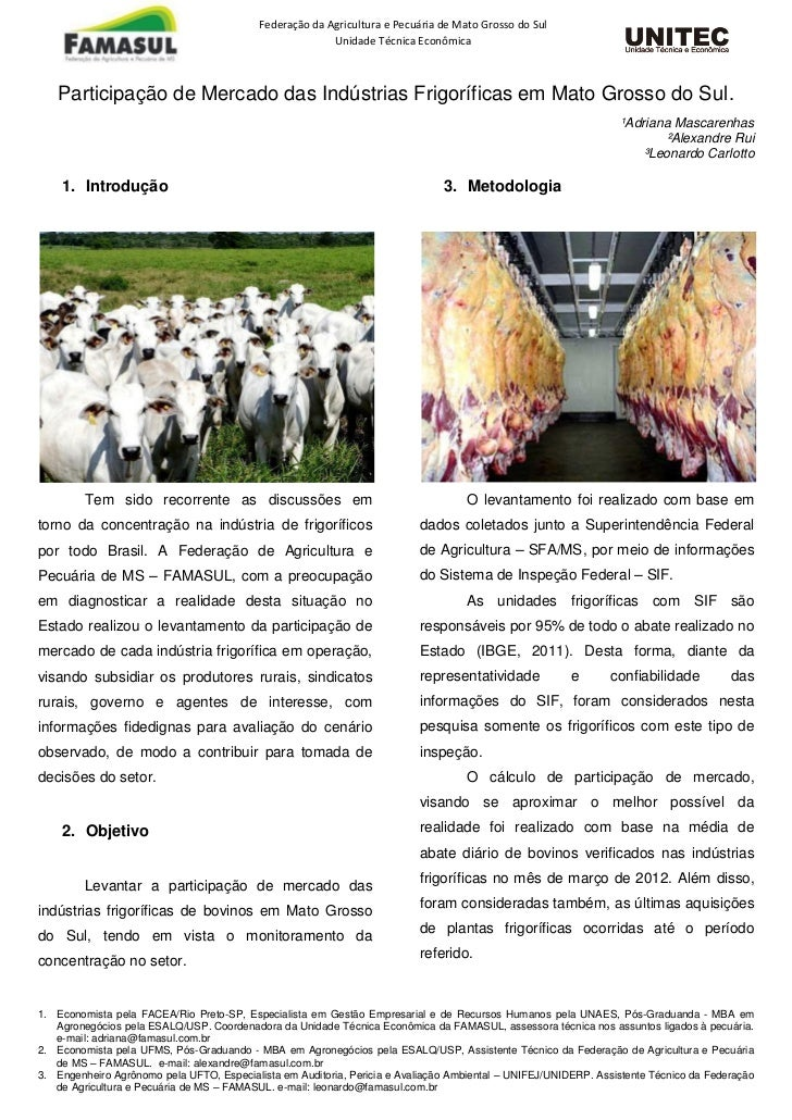 Federação da Agricultura e Pecuária de Mato Grosso do Sul                                                         Unidade ...