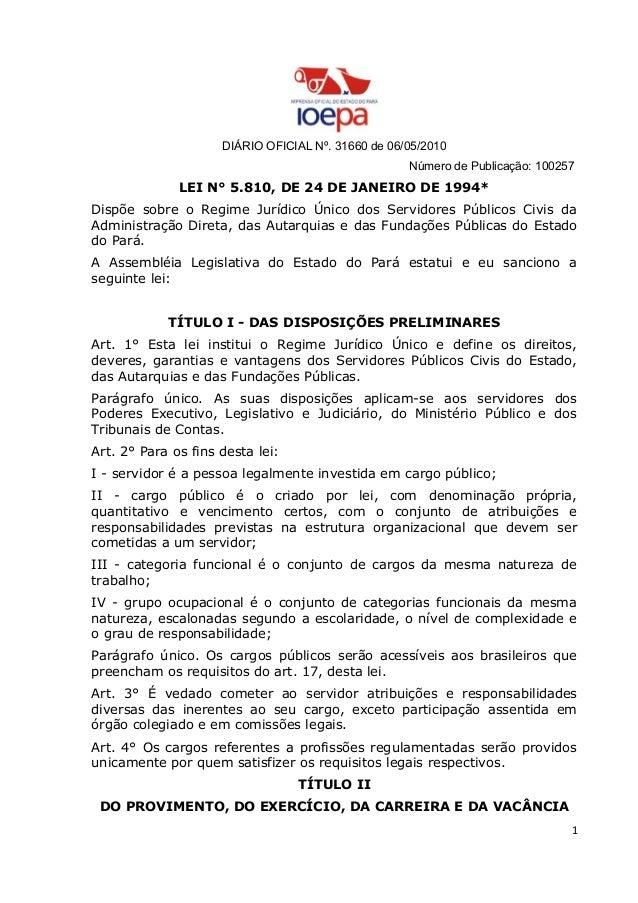 DIÁRIO OFICIAL Nº. 31660 de 06/05/2010 Número de Publicação: 100257 LEI N° 5.810, DE 24 DE JANEIRO DE 1994* Dispõe sobre o...