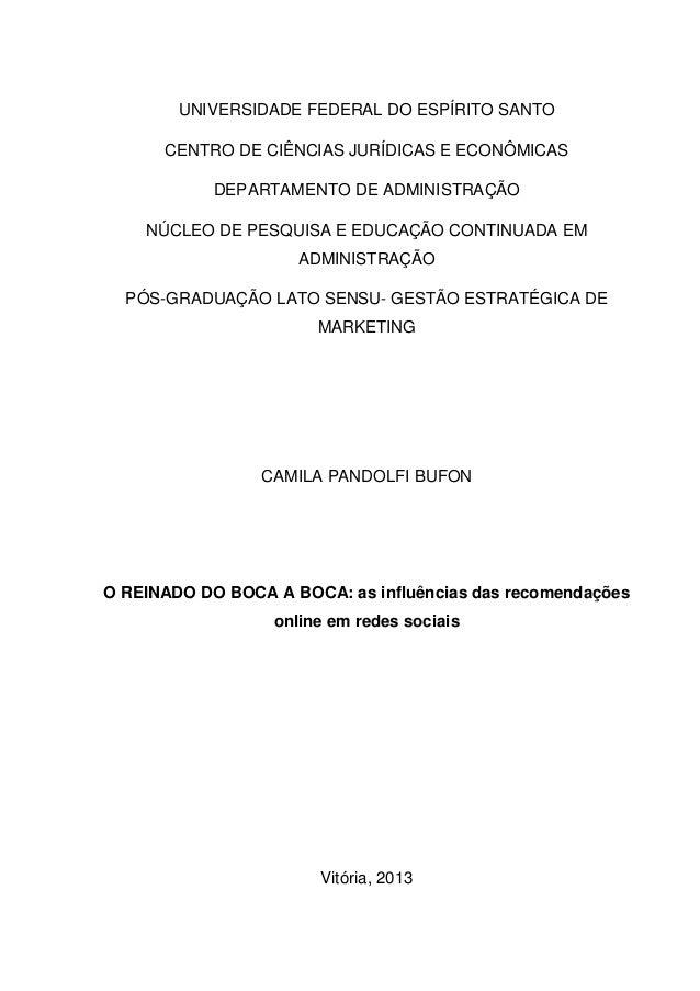 UNIVERSIDADE FEDERAL DO ESPÍRITO SANTO CENTRO DE CIÊNCIAS JURÍDICAS E ECONÔMICAS DEPARTAMENTO DE ADMINISTRAÇÃO NÚCLEO DE P...