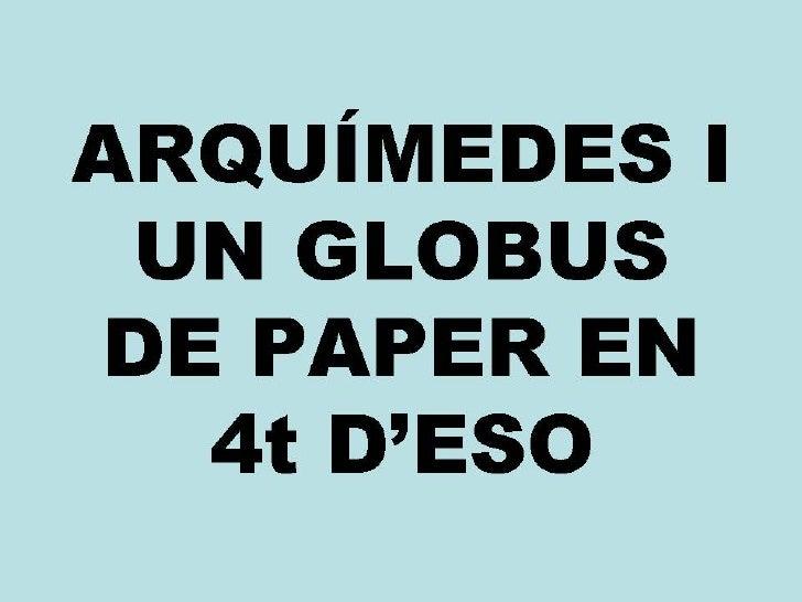 Arquímedes i un globus de paper