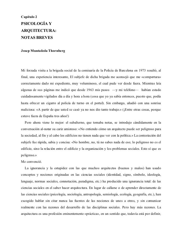 Arquitectura y psicología Muntañola