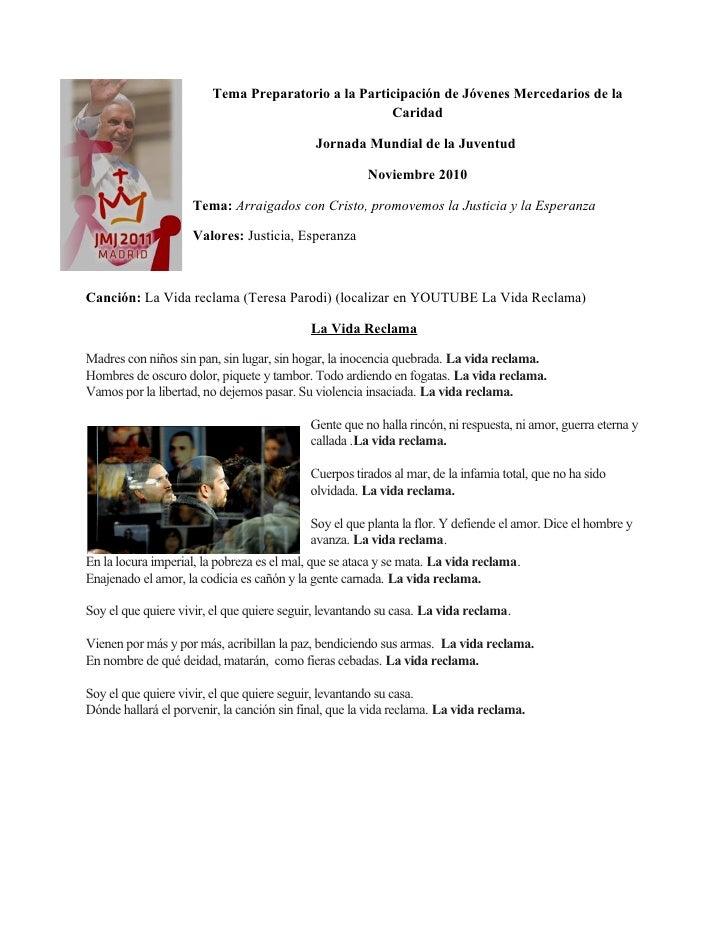 Tema Preparatorio a la Participación de Jóvenes Mercedarios de la                                                     Cari...