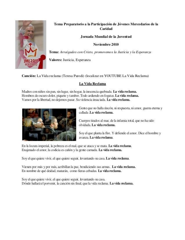 Tema Preparatorio a la Participación de Jóvenes Mercedarios de la Caridad Jornada Mundial de la Juventud Noviembre 2010 Te...