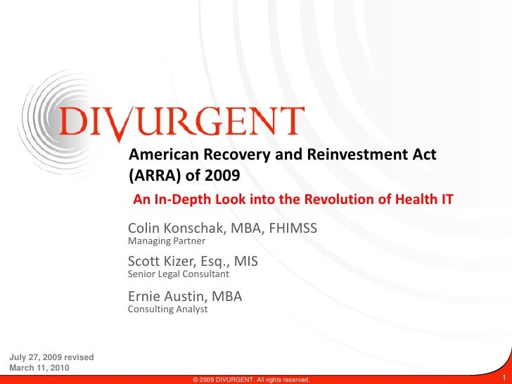 American Recovery and Reinvestment Act                         (ARRA) of 2009                          An In-Depth Look in...
