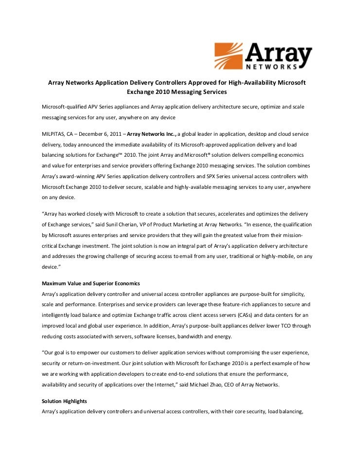 Array Networks Application Delivery Controllers Approved for High-Availability Microsoft                            Exchan...
