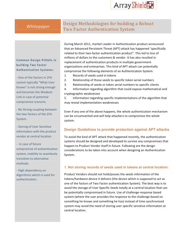 Design Methodologies for building a Robust       Whitepaper                                  Two Factor Authentication Sys...
