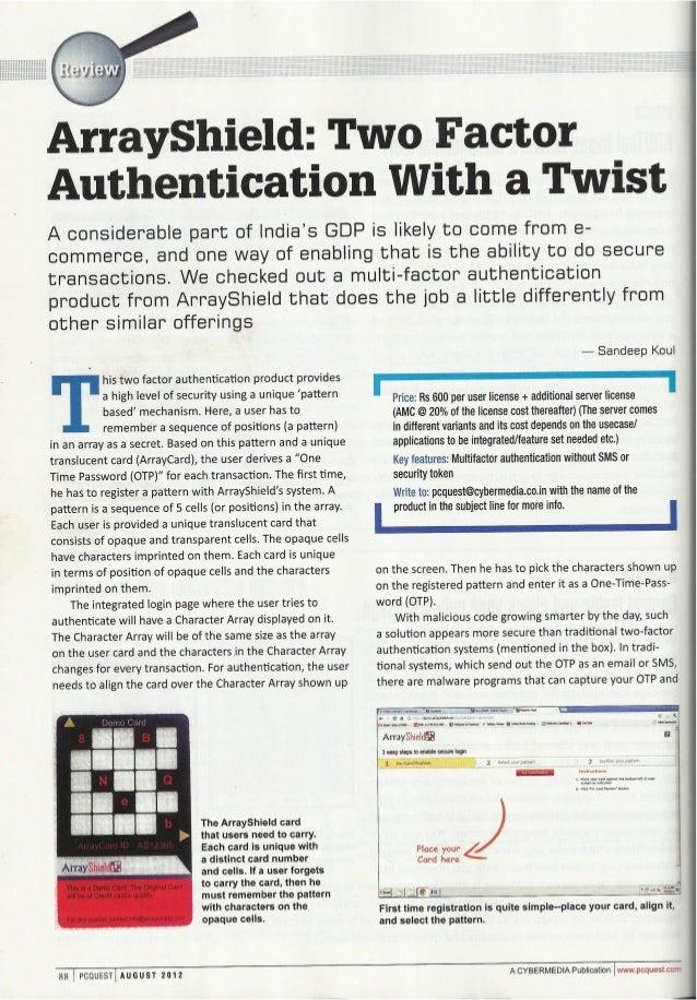 PCQuest reviews ArrayShield Product