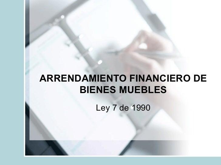 Arrendamiento Financiero De Bienes Muebles
