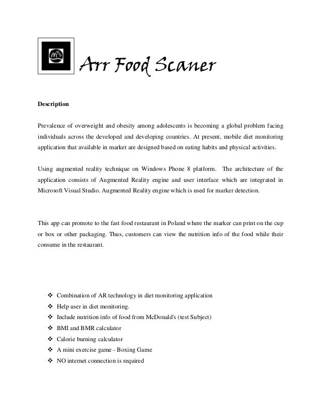 Arr Food Scaner Description  Prevalence of overweight and obesity among adolescents is becoming a global problem facing in...